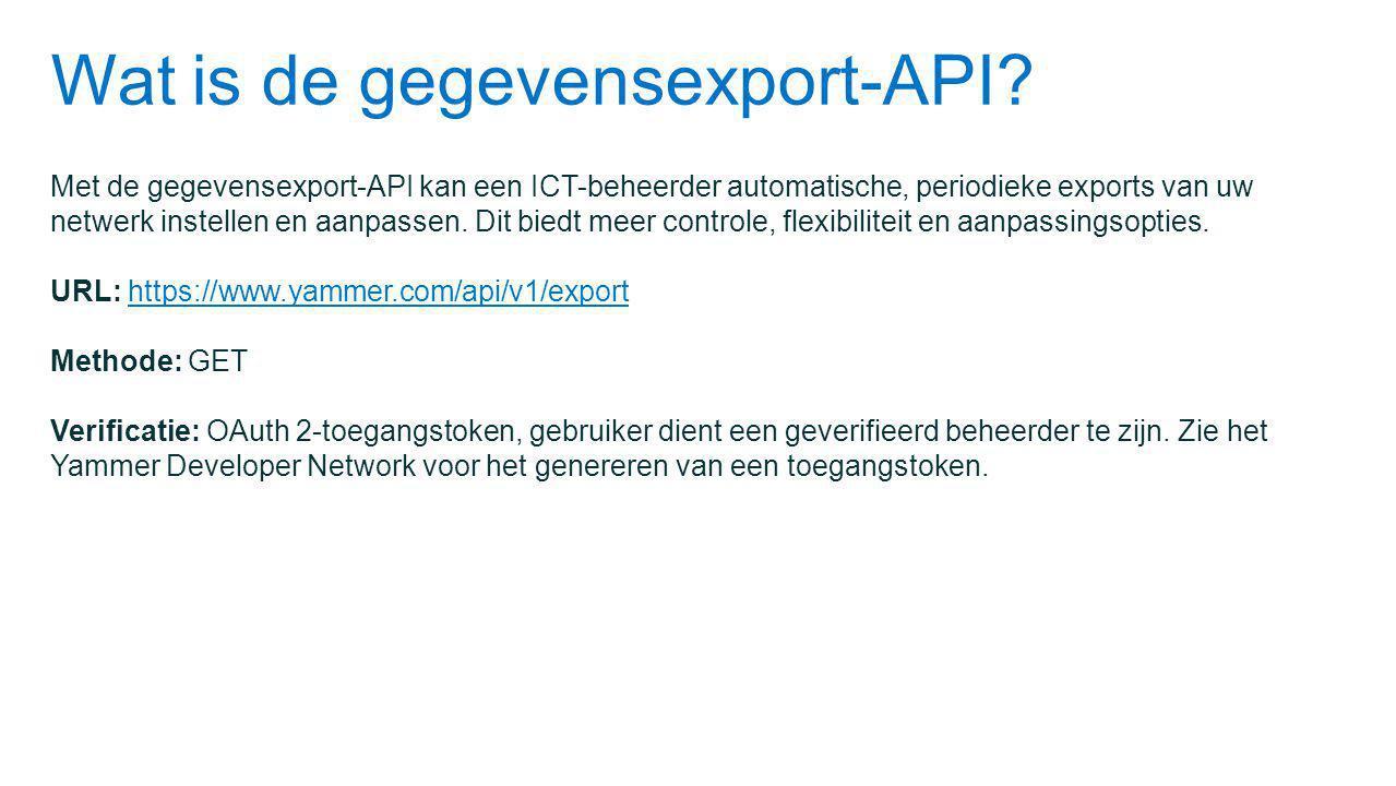 Wat is de gegevensexport-API.