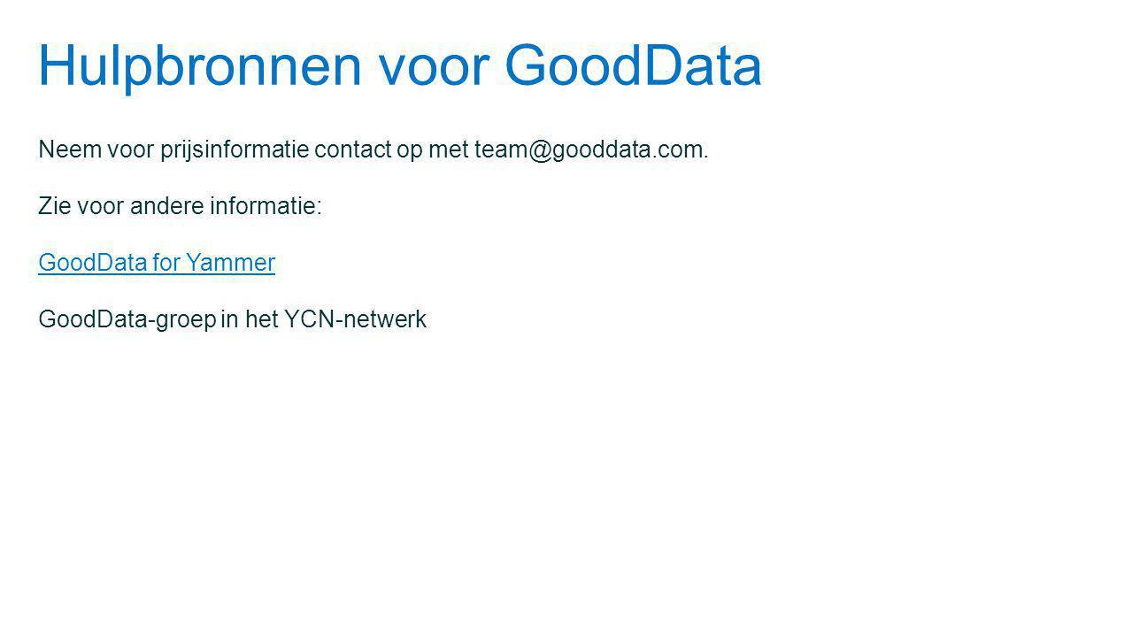 Hulpbronnen voor GoodData Neem voor prijsinformatie contact op met team@gooddata.com.