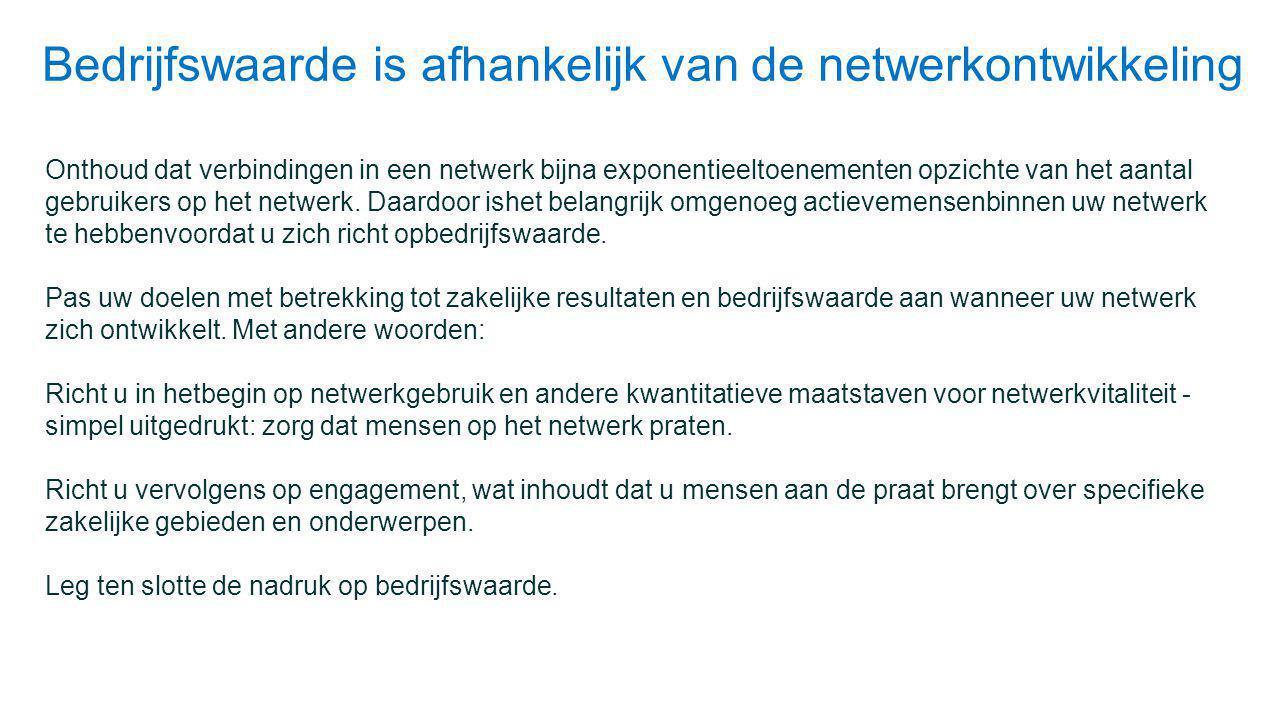 Bedrijfswaarde is afhankelijk van de netwerkontwikkeling Onthoud dat verbindingen in een netwerk bijna exponentieeltoenementen opzichte van het aantal gebruikers op het netwerk.