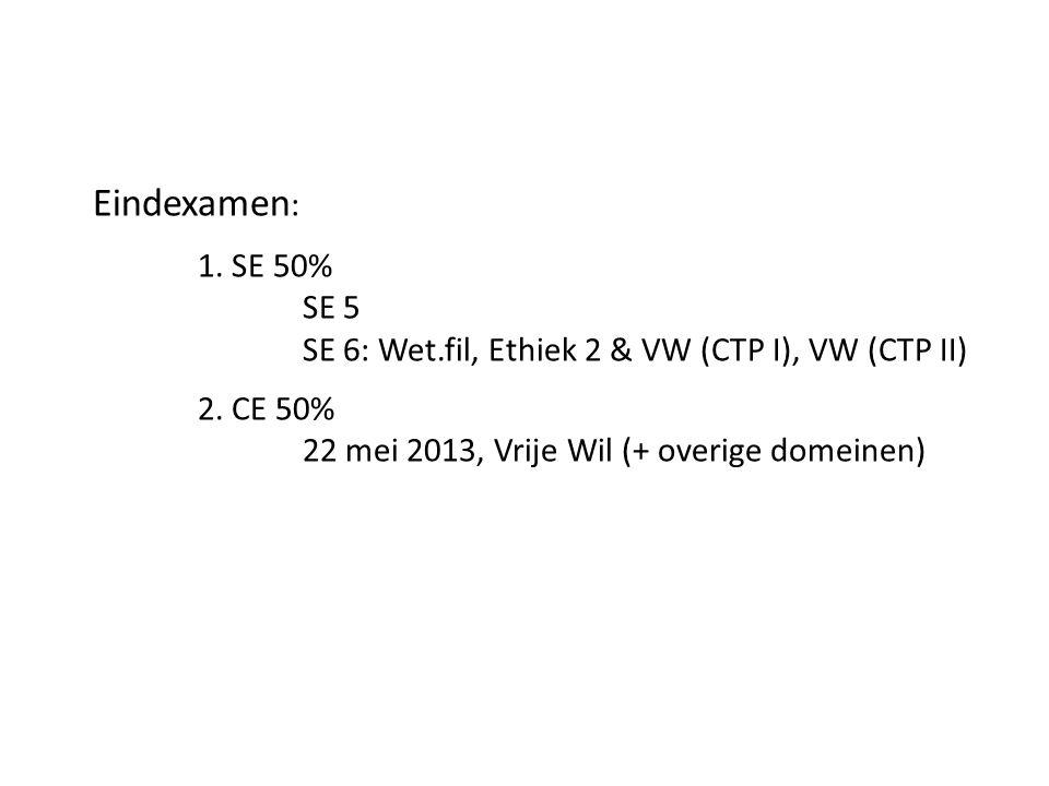 Eindexamen : 1. SE 50% SE 5 SE 6: Wet.fil, Ethiek 2 & VW (CTP I), VW (CTP II) 2. CE 50% 22 mei 2013, Vrije Wil (+ overige domeinen)