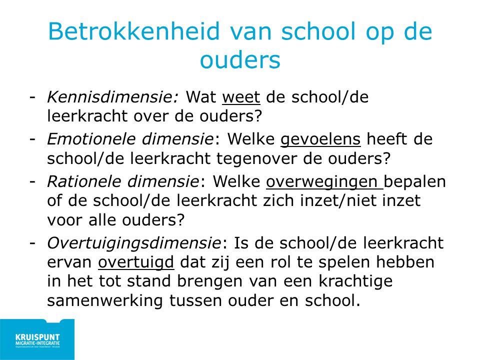 Betrokkenheid van school op de ouders -Kennisdimensie: Wat weet de school/de leerkracht over de ouders? -Emotionele dimensie: Welke gevoelens heeft de