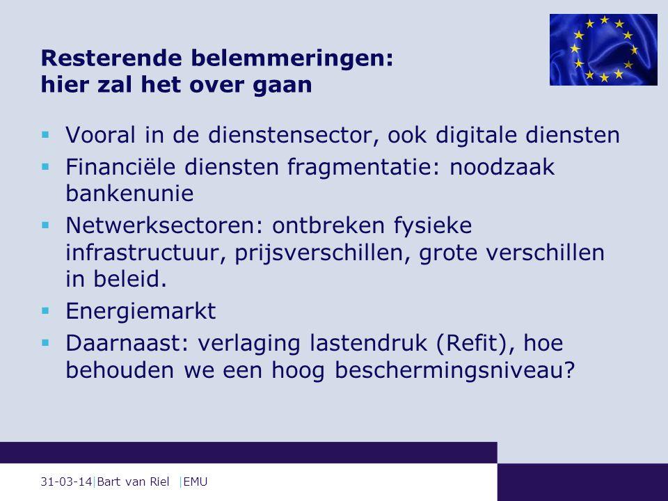 31-03-14|Bart van Riel |EMU Resterende belemmeringen: hier zal het over gaan  Vooral in de dienstensector, ook digitale diensten  Financiële diensten fragmentatie: noodzaak bankenunie  Netwerksectoren: ontbreken fysieke infrastructuur, prijsverschillen, grote verschillen in beleid.