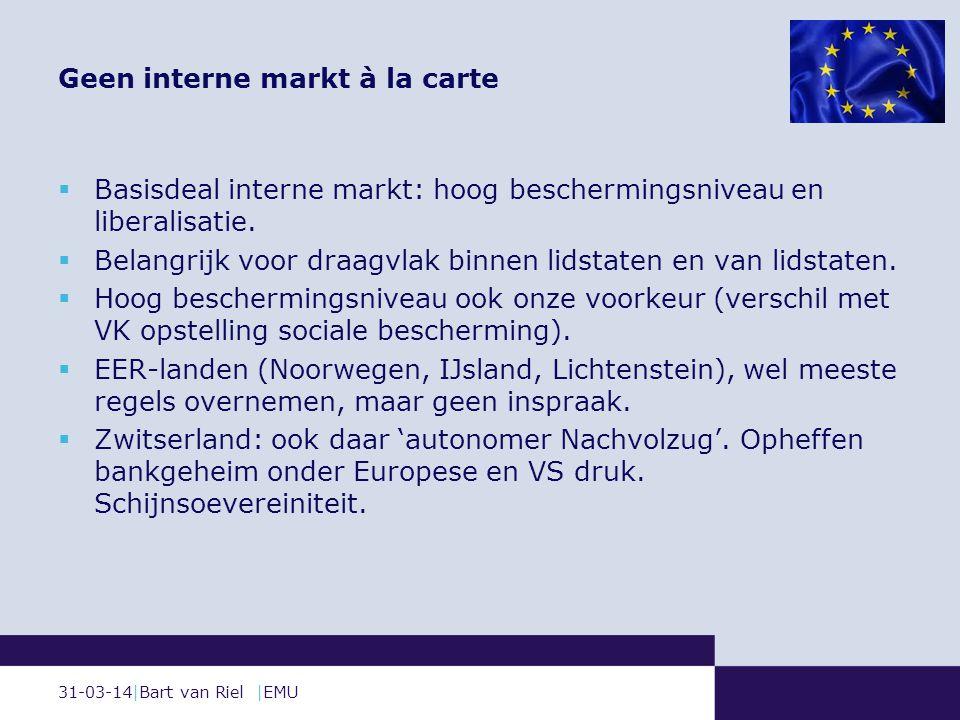 31-03-14|Bart van Riel |EMU  Basisdeal interne markt: hoog beschermingsniveau en liberalisatie.