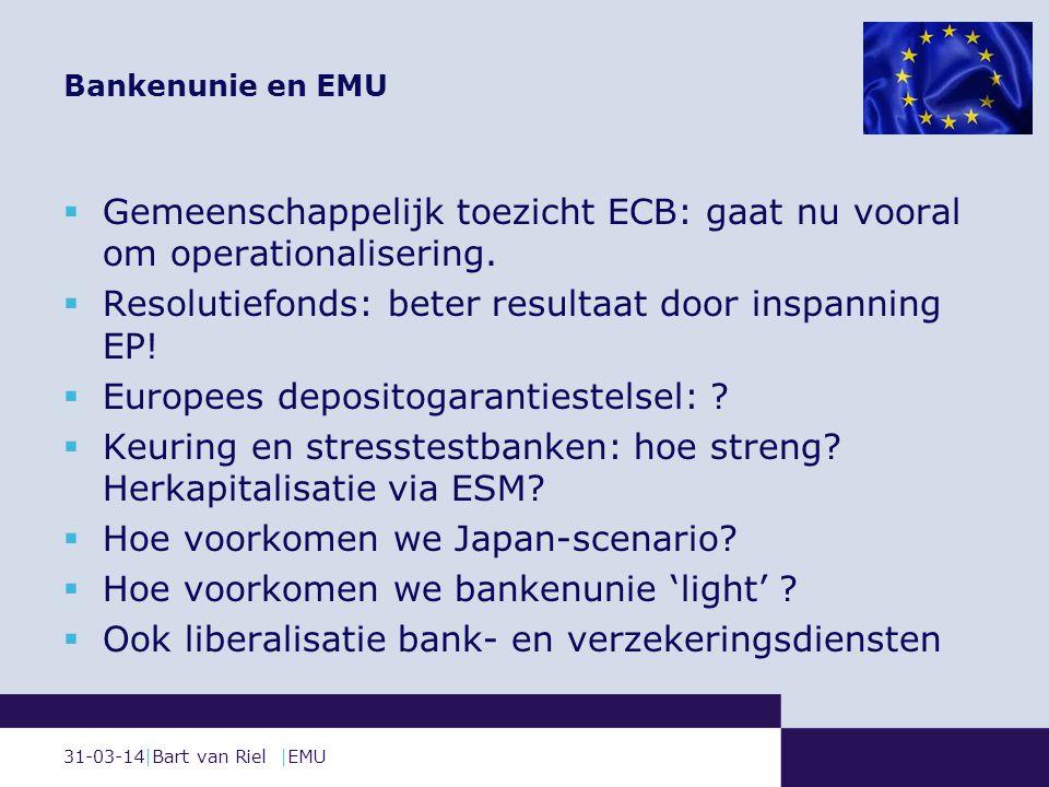 31-03-14|Bart van Riel |EMU  Gemeenschappelijk toezicht ECB: gaat nu vooral om operationalisering.
