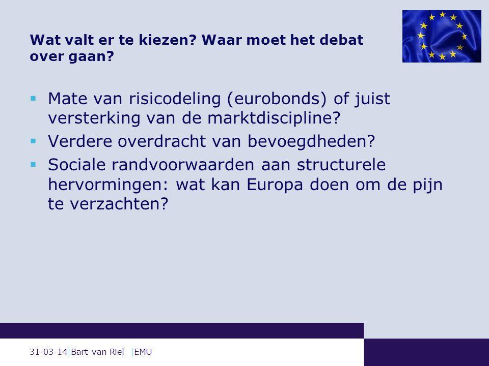 31-03-14|Bart van Riel |EMU  Mate van risicodeling (eurobonds) of juist versterking van de marktdiscipline.