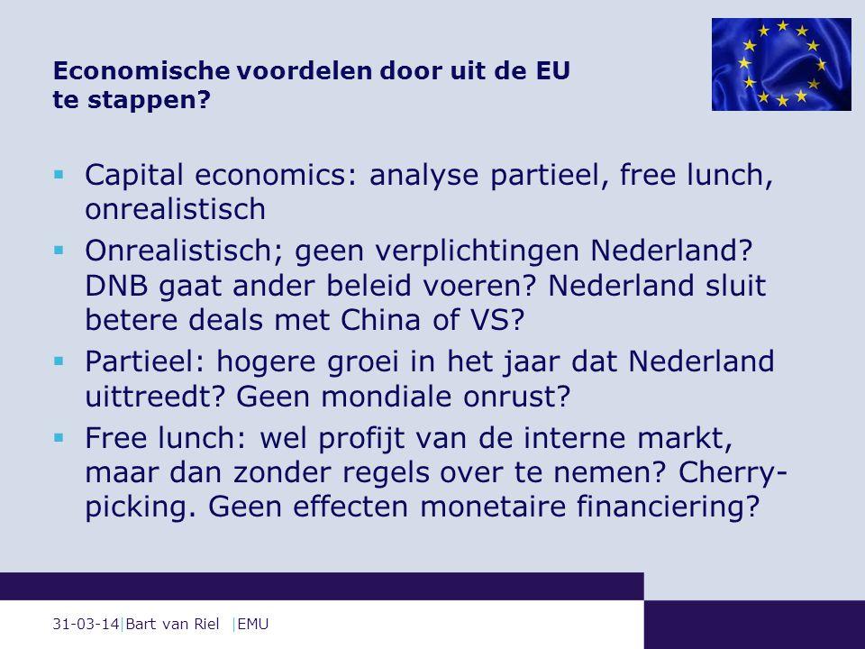 31-03-14|Bart van Riel |EMU  Capital economics: analyse partieel, free lunch, onrealistisch  Onrealistisch; geen verplichtingen Nederland.