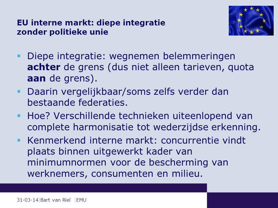  Diepe integratie: wegnemen belemmeringen achter de grens (dus niet alleen tarieven, quota aan de grens).