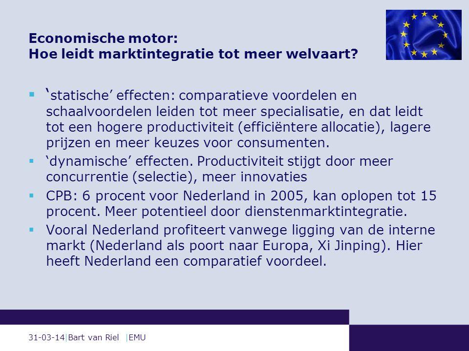 31-03-14|Bart van Riel |EMU Economische motor: Hoe leidt marktintegratie tot meer welvaart.