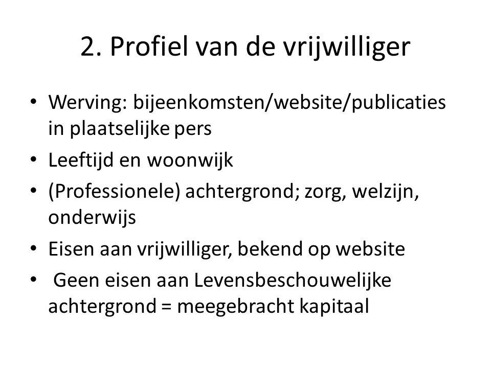 2. Profiel van de vrijwilliger • Werving: bijeenkomsten/website/publicaties in plaatselijke pers • Leeftijd en woonwijk • (Professionele) achtergrond;
