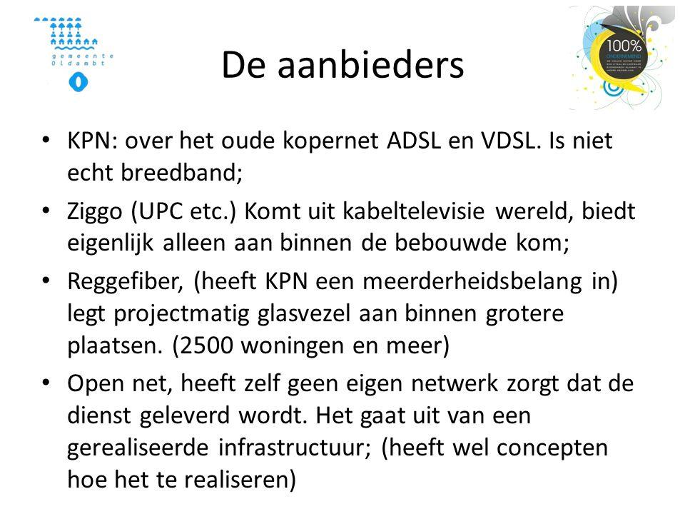 De aanbieders • KPN: over het oude kopernet ADSL en VDSL.