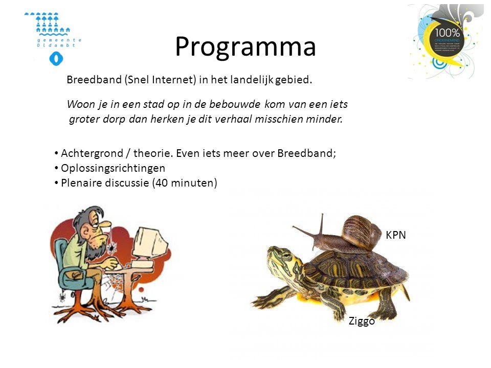 Programma • Achtergrond / theorie. Even iets meer over Breedband; • Oplossingsrichtingen • Plenaire discussie (40 minuten) Breedband (Snel Internet) i
