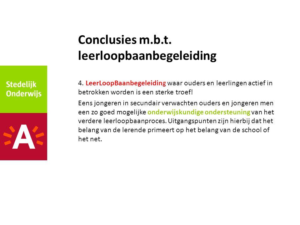 4. LeerLoopBaanbegeleiding waar ouders en leerlingen actief in betrokken worden is een sterke troef! Eens jongeren in secundair verwachten ouders en j