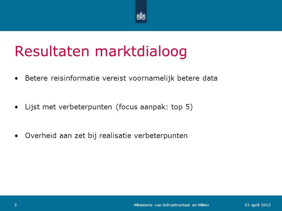 223 april 2013 Ministerie van Infrastructuur en Milieu •Betere reisinformatie vereist voornamelijk betere data •Lijst met verbeterpunten (focus aanpak