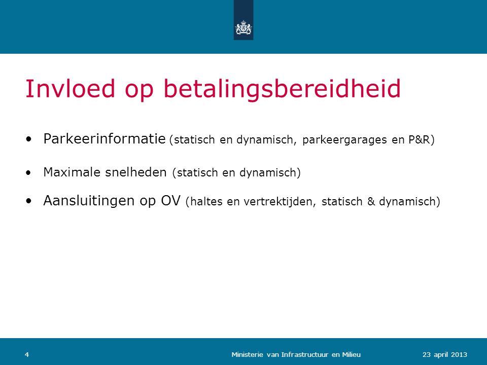 423 april 2013 Ministerie van Infrastructuur en Milieu Invloed op betalingsbereidheid •Parkeerinformatie (statisch en dynamisch, parkeergarages en P&R