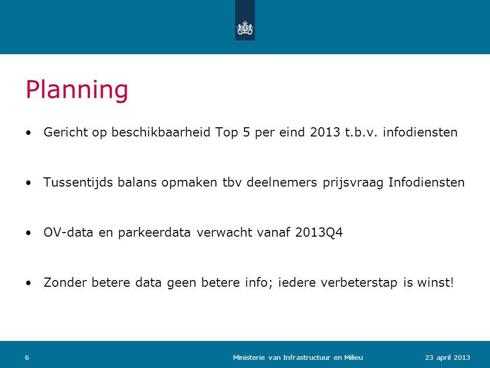 623 april 2013 Ministerie van Infrastructuur en Milieu Planning •Gericht op beschikbaarheid Top 5 per eind 2013 t.b.v. infodiensten •Tussentijds balan