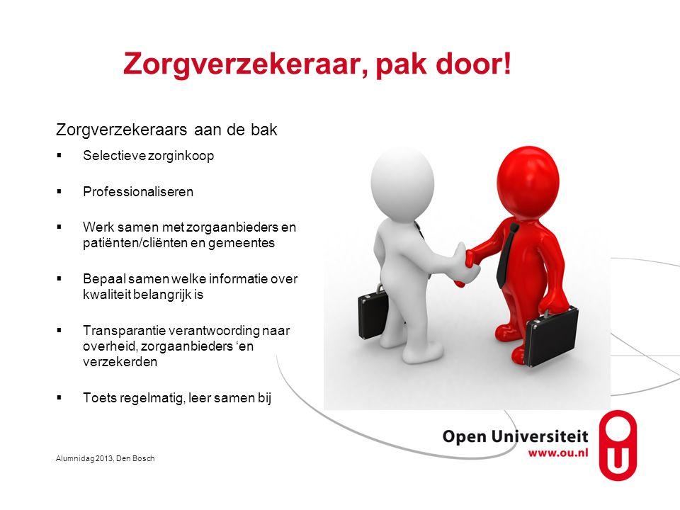 Zorgverzekeraar, pak door! Zorgverzekeraars aan de bak  Selectieve zorginkoop  Professionaliseren  Werk samen met zorgaanbieders en patiënten/cliën