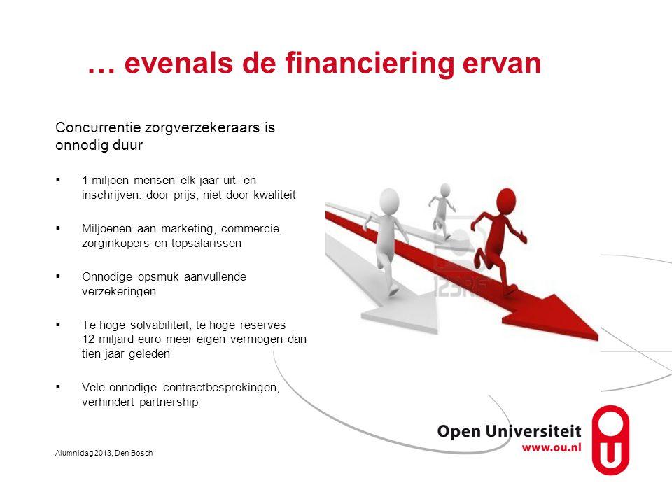 … evenals de financiering ervan Concurrentie zorgverzekeraars is onnodig duur  1 miljoen mensen elk jaar uit- en inschrijven: door prijs, niet door k