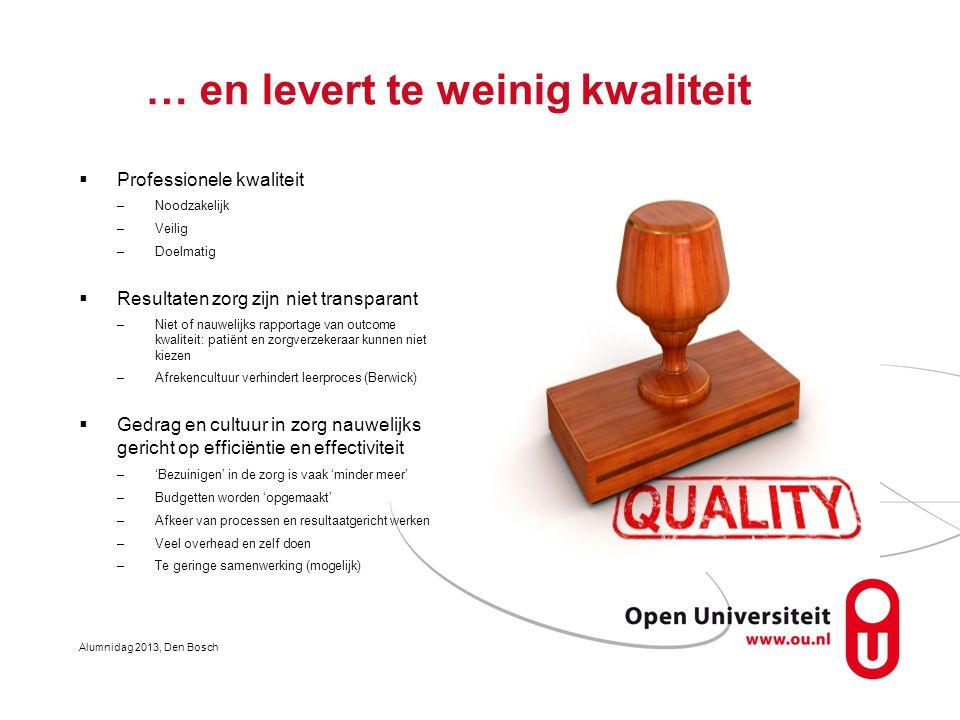 … en levert te weinig kwaliteit  Professionele kwaliteit –Noodzakelijk –Veilig –Doelmatig  Resultaten zorg zijn niet transparant –Niet of nauwelijks