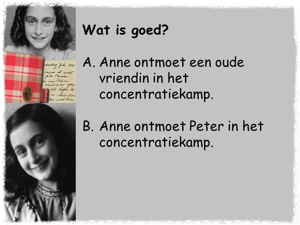 Wat is goed? A.Anne ontmoet een oude vriendin in het concentratiekamp. B.Anne ontmoet Peter in het concentratiekamp.