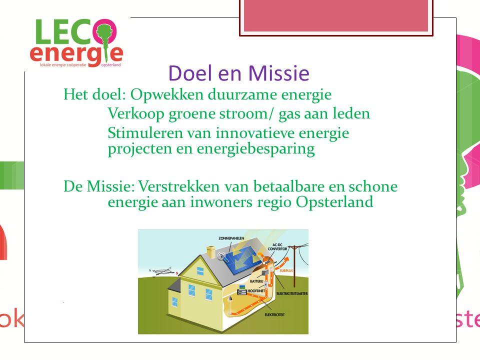 Doel en Missie Het doel: Opwekken duurzame energie Verkoop groene stroom/ gas aan leden Stimuleren van innovatieve energie projecten en energiebespari