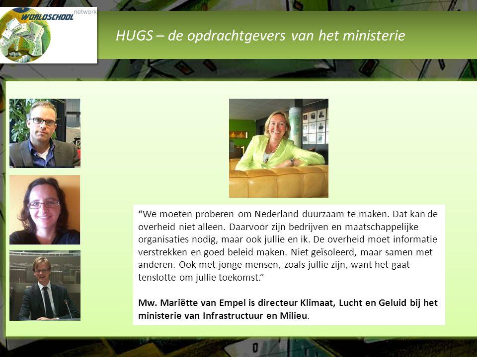 HUGS – de vraagstukken van het ministerie Er zijn 16 vraagstukken door het ministerie genoemd en uitgewerkt.