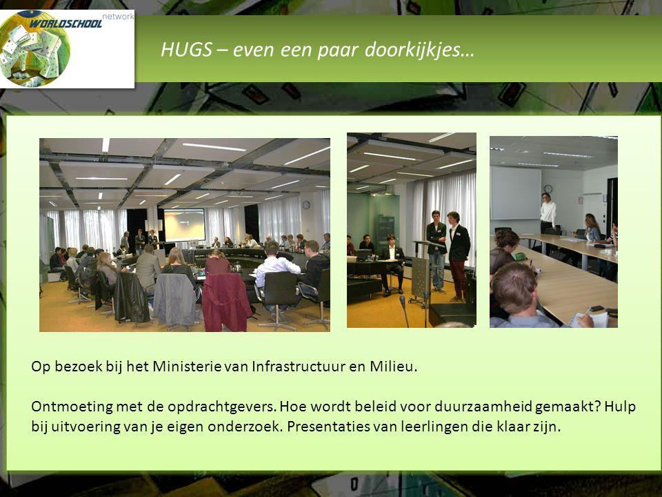 HUGS – even een paar doorkijkjes… Het Worldschool Event Leerlingen van alle Worldschool scholen presenteren de resultaten van de onderzoeks- programma's aan opdrachtgevers, experts, belangstellenden en andere leerlingen.