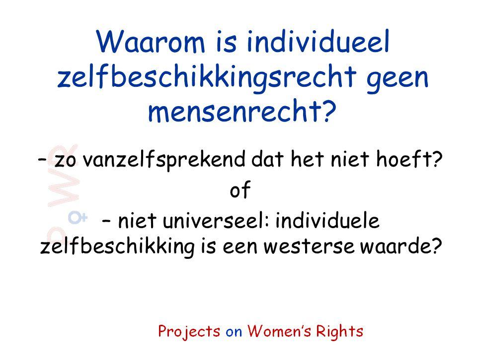 Waarom is individueel zelfbeschikkingsrecht geen mensenrecht? – zo vanzelfsprekend dat het niet hoeft? of – niet universeel: individuele zelfbeschikki