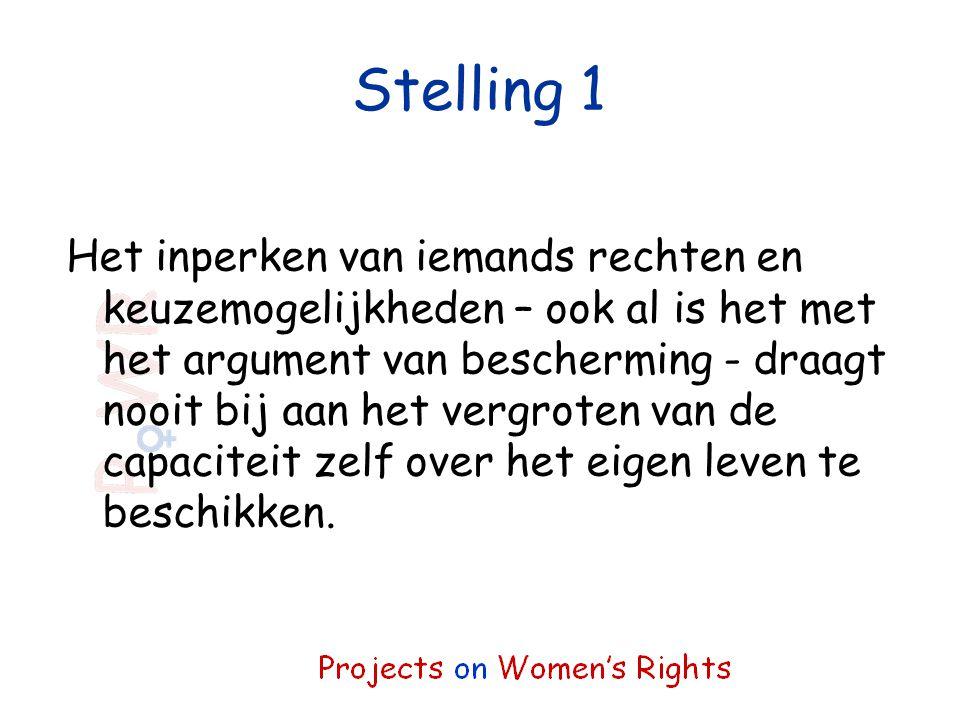 Stelling 1 Het inperken van iemands rechten en keuzemogelijkheden – ook al is het met het argument van bescherming - draagt nooit bij aan het vergrote