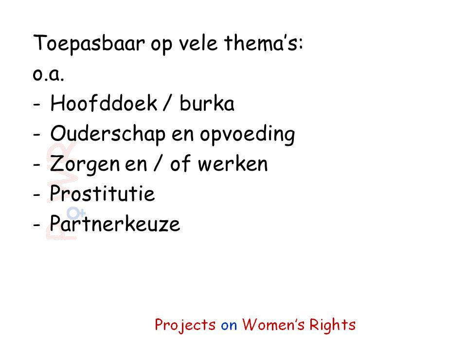 Toepasbaar op vele thema's: o.a. -Hoofddoek / burka -Ouderschap en opvoeding -Zorgen en / of werken -Prostitutie -Partnerkeuze