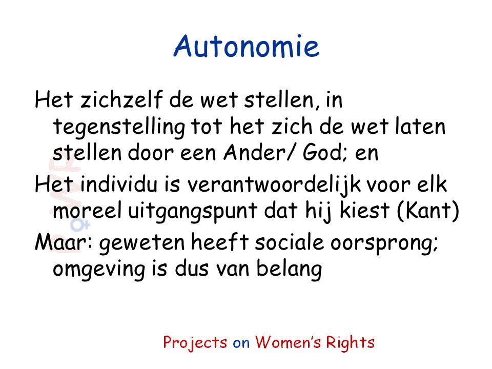 Autonomie Het zichzelf de wet stellen, in tegenstelling tot het zich de wet laten stellen door een Ander/ God; en Het individu is verantwoordelijk voo