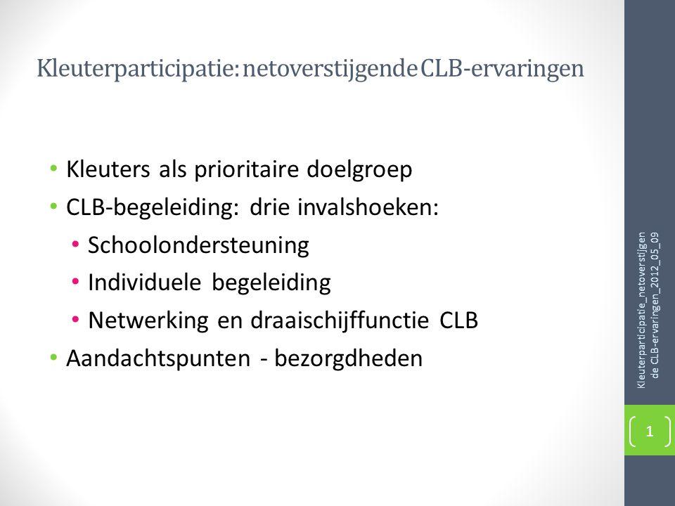 Kleuterparticipatie: netoverstijgende CLB-ervaringen • Kleuters als prioritaire doelgroep • CLB-begeleiding: drie invalshoeken: • Schoolondersteuning