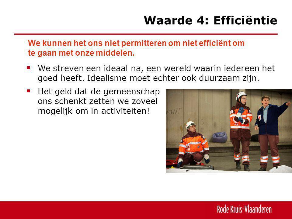 Waarde 4: Efficiëntie We kunnen het ons niet permitteren om niet efficiënt om te gaan met onze middelen.  We streven een ideaal na, een wereld waarin