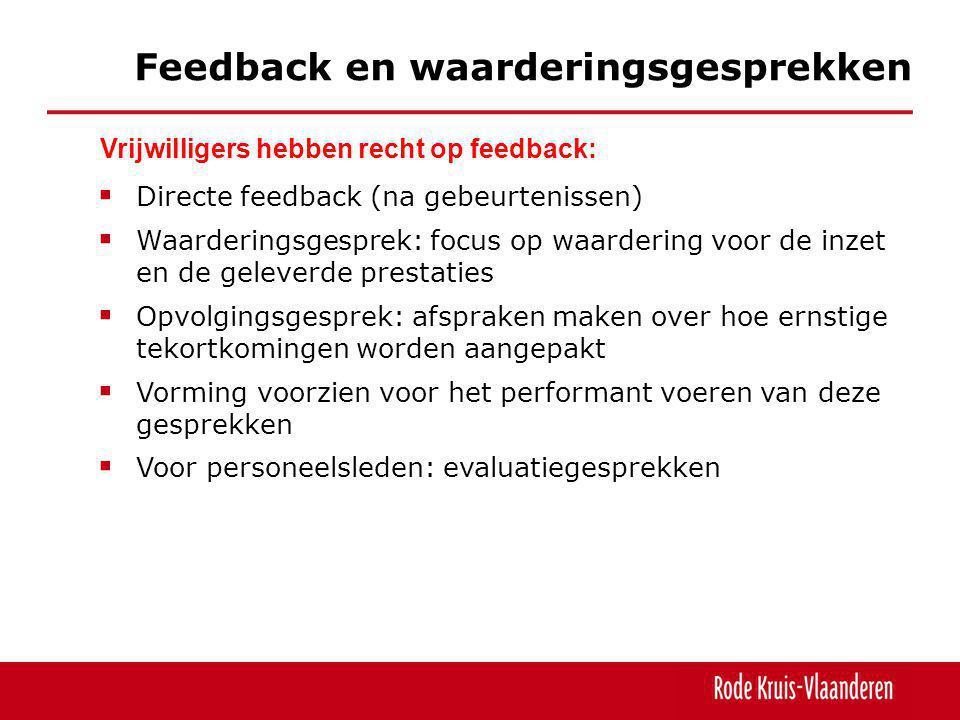  Directe feedback (na gebeurtenissen)  Waarderingsgesprek: focus op waardering voor de inzet en de geleverde prestaties  Opvolgingsgesprek: afsprak