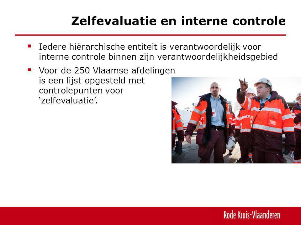  Iedere hiërarchische entiteit is verantwoordelijk voor interne controle binnen zijn verantwoordelijkheidsgebied  Voor de 250 Vlaamse afdelingen is