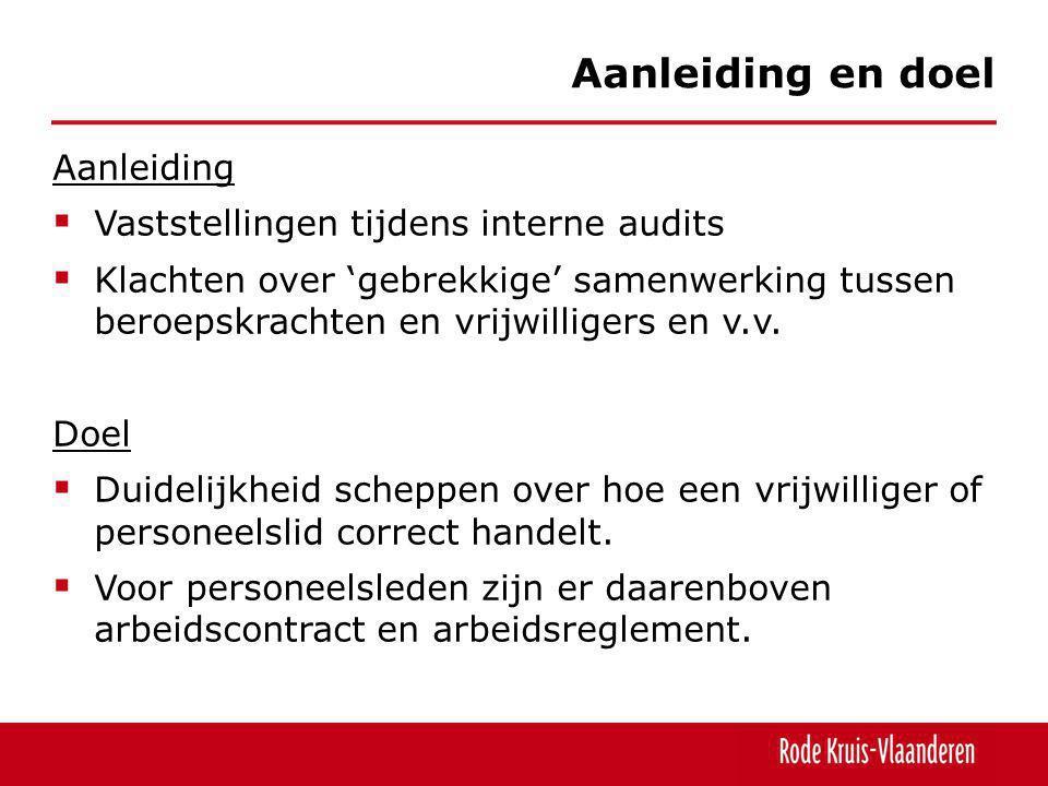  Werknemers • welzijnswetgeving (4/8/96 en KB 17/5/07) • welzijn - RKV is eindverantwoordelijke  Vrijwilligers • basiswet op de vrijwilligers stelt dat arbeidswetgeving niet van toepassing is op vrijwilligerswerk • fair en opportuun om de vrijwilligers dezelfde bescherming te laten genieten als de personeelsleden • GOG is ook in strijd met het Handvest van Rode Kruis- Vlaanderen en dus ontoelaatbaar  Beslissing: de voor personeelsleden bestaande procedure GOG wordt uitgebreid voor alle vrijwilligers met een externe preventieadviseur (IDW).