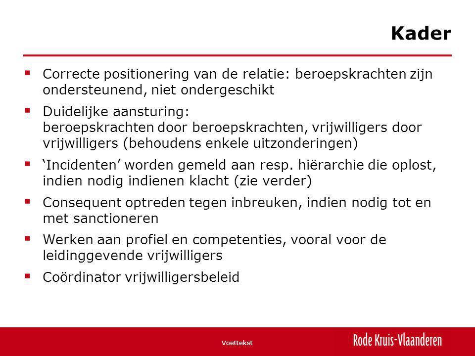  Correcte positionering van de relatie: beroepskrachten zijn ondersteunend, niet ondergeschikt  Duidelijke aansturing: beroepskrachten door beroepsk