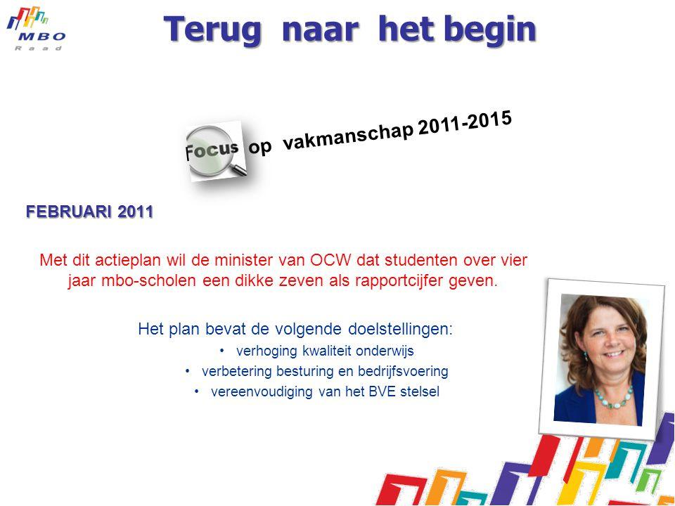 Focus op vakmanschap 2011-2015 Terug naar het begin FEBRUARI 2011 Met dit actieplan wil de minister van OCW dat studenten over vier jaar mbo-scholen e