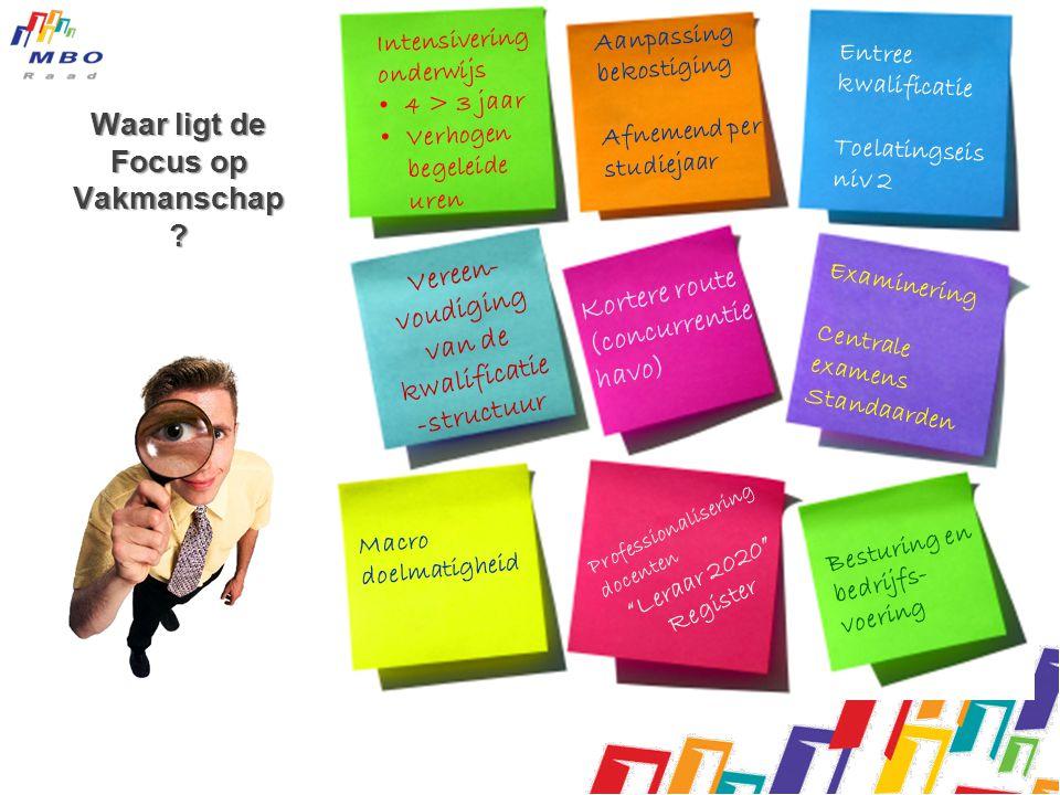 Waar ligt de Focus op Vakmanschap ? Intensivering onderwijs • 4 > 3 jaar • Verhogen begeleide uren Aanpassing bekostiging Afnemend per studiejaar Entr