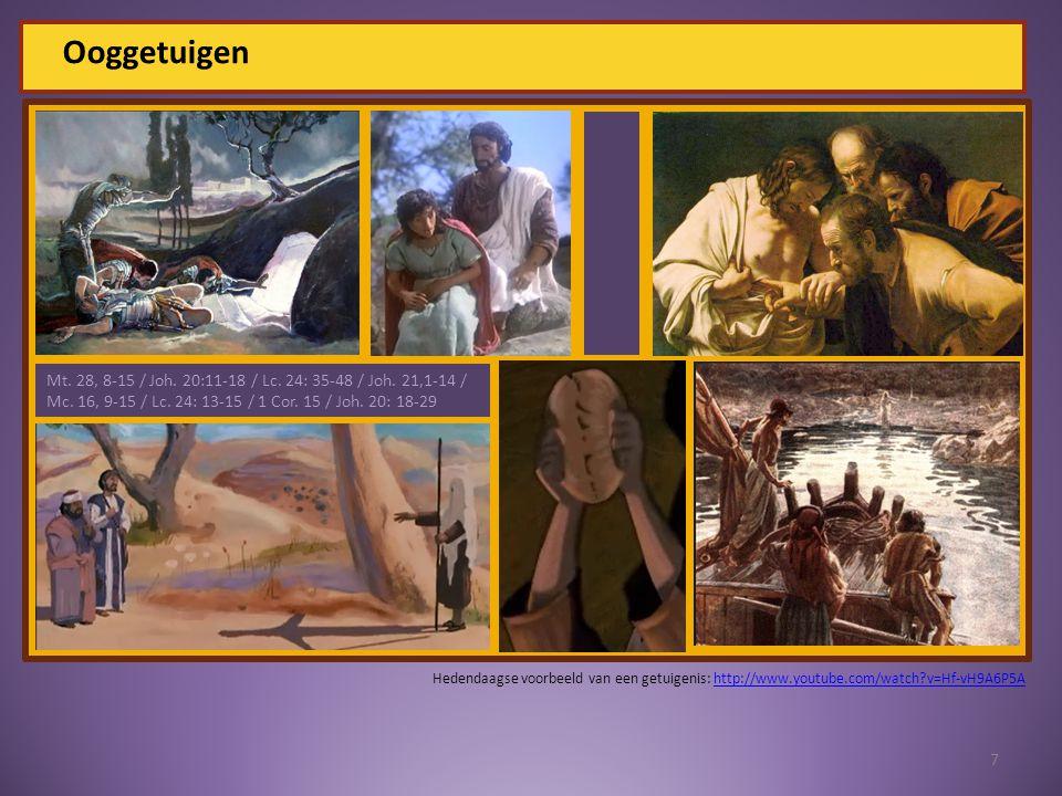 Ooggetuigen 7 Mt. 28, 8-15 / Joh. 20:11-18 / Lc.