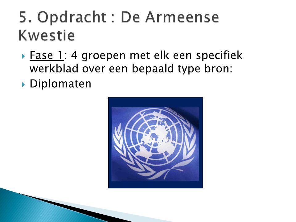  Fase 1: 4 groepen met elk een specifiek werkblad over een bepaald type bron:  Diplomaten