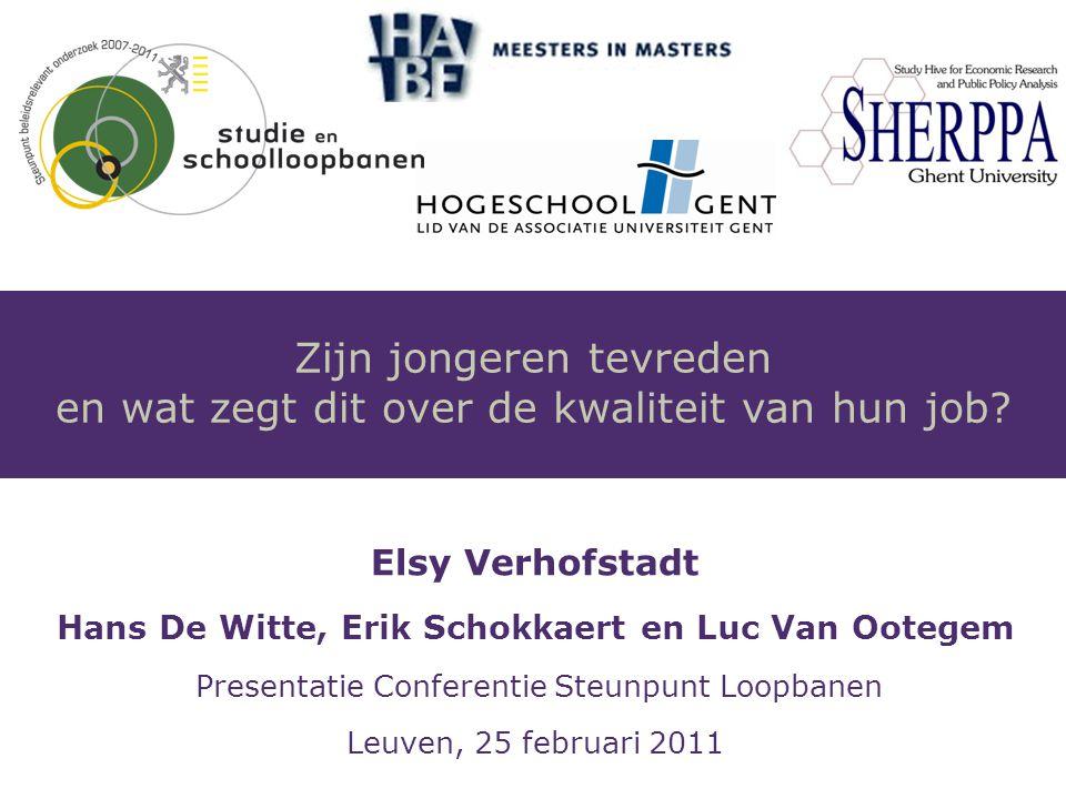 Elsy Verhofstadt Hans De Witte, Erik Schokkaert en Luc Van Ootegem Presentatie Conferentie Steunpunt Loopbanen Leuven, 25 februari 2011 Zijn jongeren tevreden en wat zegt dit over de kwaliteit van hun job