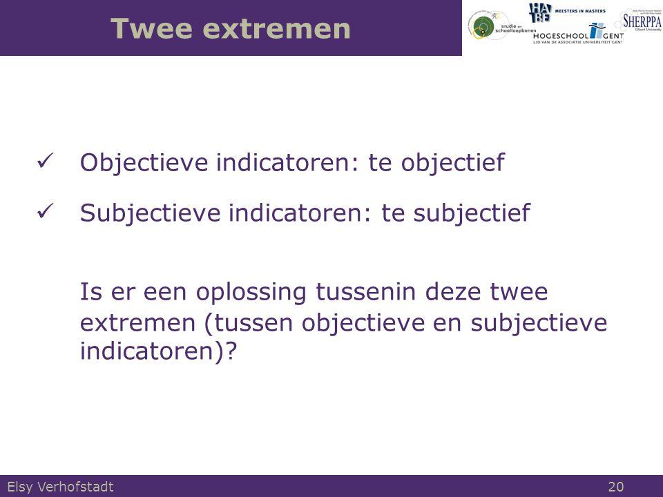 Twee extremen  Objectieve indicatoren: te objectief  Subjectieve indicatoren: te subjectief Is er een oplossing tussenin deze twee extremen (tussen objectieve en subjectieve indicatoren).