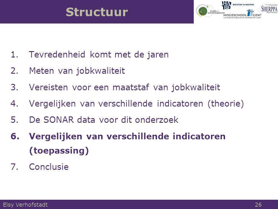 1.Tevredenheid komt met de jaren 2.Meten van jobkwaliteit 3.Vereisten voor een maatstaf van jobkwaliteit 4.Vergelijken van verschillende indicatoren (theorie) 5.De SONAR data voor dit onderzoek 6.Vergelijken van verschillende indicatoren (toepassing) 7.Conclusie Structuur Elsy Verhofstadt 26