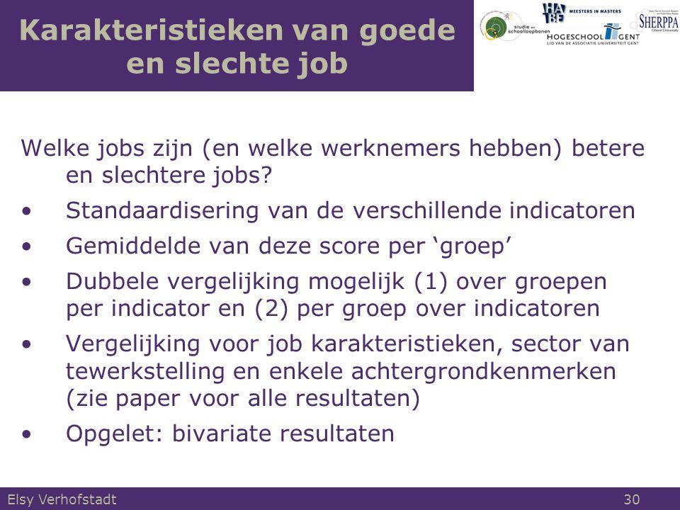 Karakteristieken van goede en slechte job Elsy Verhofstadt 30 Welke jobs zijn (en welke werknemers hebben) betere en slechtere jobs.