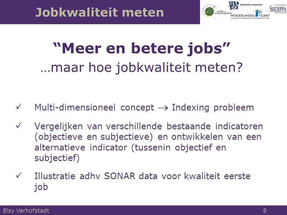 Objectieve indicatoren van jobkwaliteit Objective indicators = opleggen van een specifieke referentie preferentie- ordening en een specifieke cardinalisatie van de nutsfunctie Q O,r (C i, R i, A i ) = S(C i, R r, A r ) ‒ negeert individuele preferenties ‒ onafhankelijk van aspiratieniveau's ‒ voldoet aan dominantievoorwaarde Elsy Verhofstadt 19