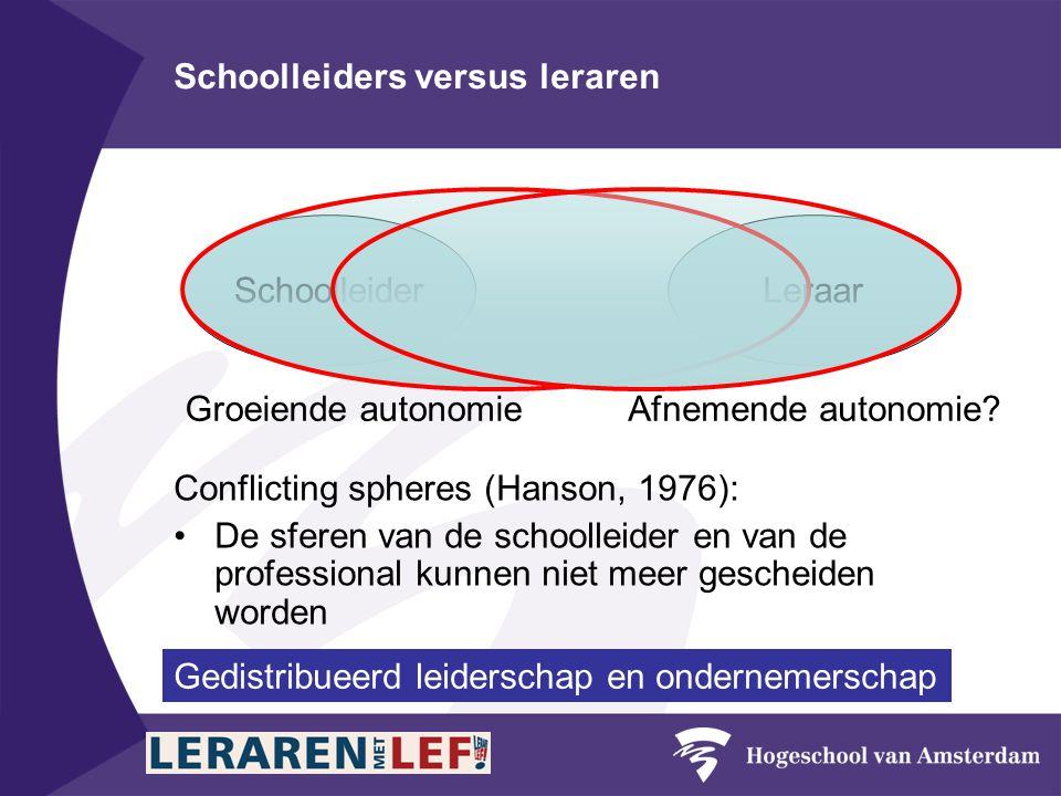 Schoolleiders versus leraren SchoolleiderLeraar Groeiende autonomieAfnemende autonomie.