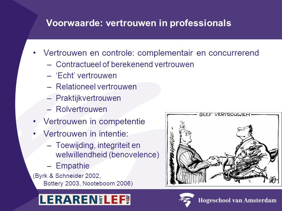 Voorwaarde: vertrouwen in professionals •Vertrouwen en controle: complementair en concurrerend –Contractueel of berekenend vertrouwen –'Echt' vertrouwen –Relationeel vertrouwen –Praktijkvertrouwen –Rolvertrouwen •Vertrouwen in competentie •Vertrouwen in intentie: –Toewijding, integriteit en welwillendheid (benovelence) –Empathie (Byrk & Schneider 2002, Bottery 2003, Nooteboom 2006)