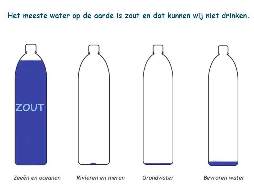 Het meeste water op de aarde is zout en dat kunnen wij niet drinken. ZOUT
