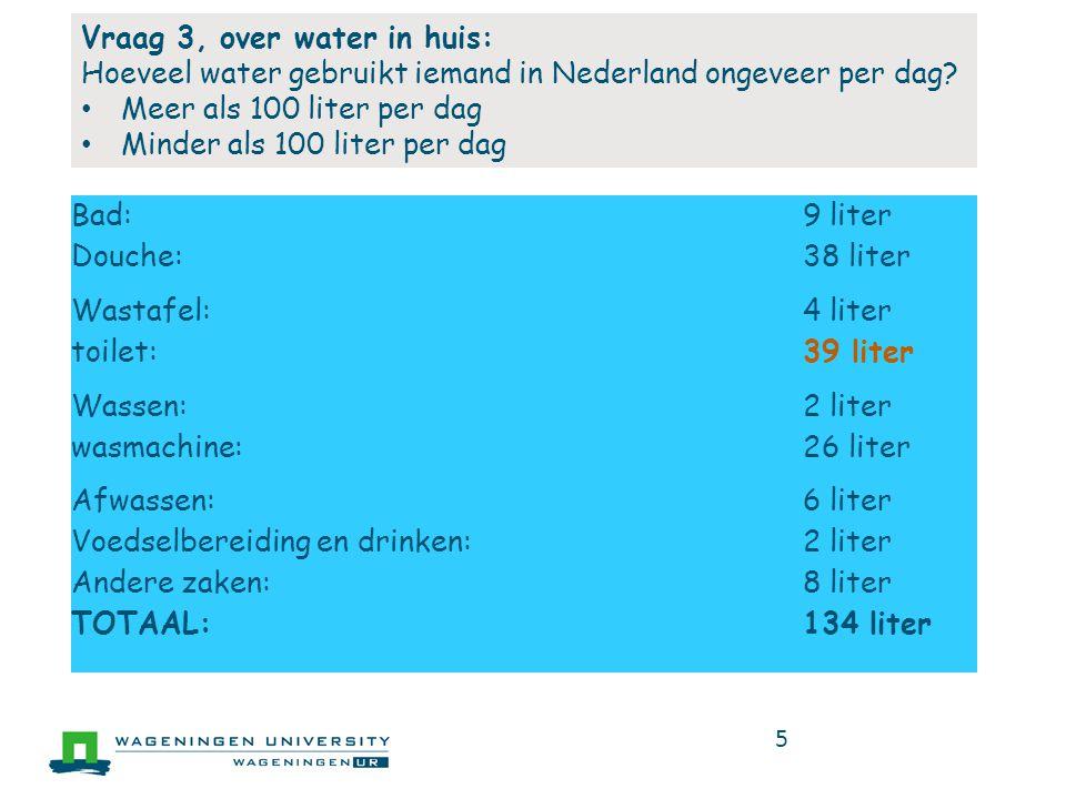 5 Bad:9 liter Douche:38 liter Wastafel:4 liter toilet:39 liter Wassen:2 liter wasmachine:26 liter Afwassen:6 liter Voedselbereiding en drinken:2 liter