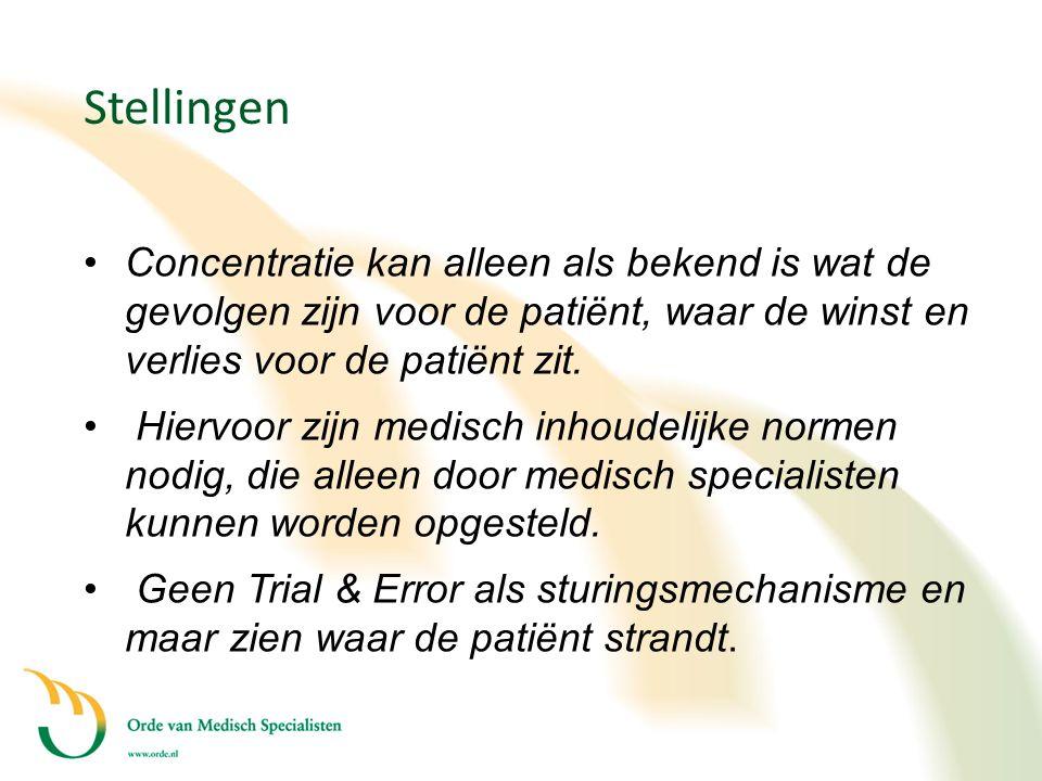 Stellingen •Concentratie kan alleen als bekend is wat de gevolgen zijn voor de patiënt, waar de winst en verlies voor de patiënt zit. • Hiervoor zijn